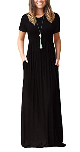 Women's Round Neck Short Sleeves A-line Casual Maxi Formal Dresses with Pocket Black Small