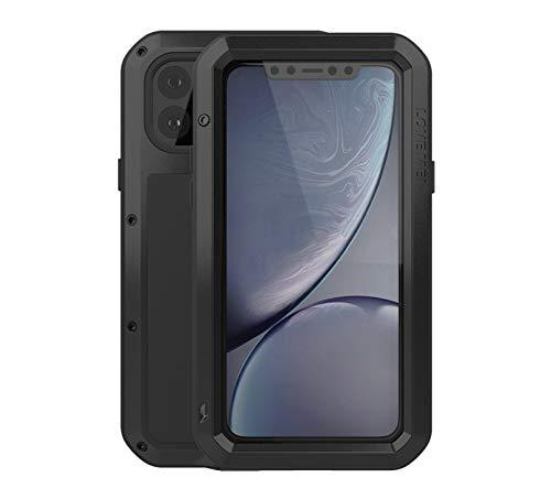 Love Mei - Carcasa de metal para iPhone 11 Pro, resistente y resistente al polvo, a prueba de golpes, de aluminio y metal, con cristal templado para iPhone 11 Pro