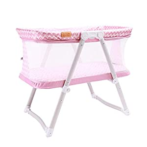 Venture Hush Lite Baby Crib, Compact Travel Cot 0-6 Months Pink