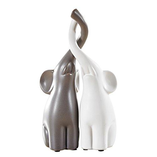 Pure.Lifestyle (Set di 2) Coppia Elefanti - Due colori Decorazione Ceramica Animali Figurine Sculture in Porcellana Statue Artigianato Regali di Nozze Regali di Natale Regali di Compleanno 10