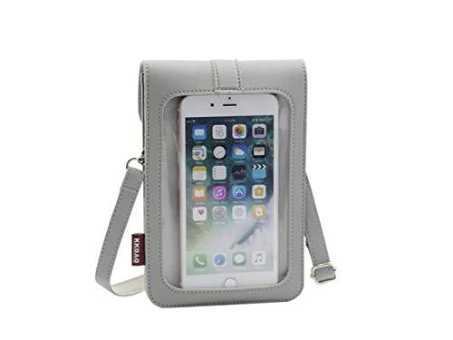Crossover Tasche mit Touchscreen, kleine Handy-Umhängetasche für iPhone 11 / LG Stylo 4 / Moto G Pro, G Power Stylus, G8 Play G7 G6 E6 E6S E6 Plus Z4 Z3 Pixel 4, 3a (Grau)