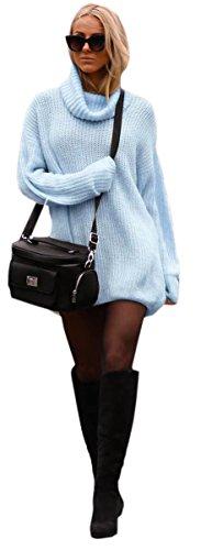 Mikos Damen Strickpullover Sweater Rollkragen Pullover Jumper Strick Pulli Oversize (648) (Hellblau)