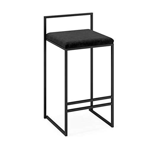 Chaises de Salle à Manger Tabourets de Bar en métal Noir avec Dossier intégral, chaises de Salle à Manger en Flanelle pour la Cuisine   Pub   Tabouret Comptoir Café Bar Max. Charge 440Lb