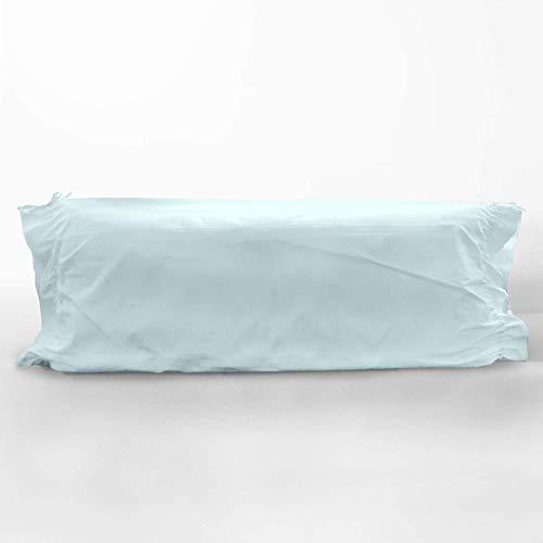 Pizuna 400 Hilos Funda de Almohada cilíndrica Azul Claro, para cojín de 90cm, 100% algodón Tejido de satén Suave y Transpirable, (Cama 90 cm, 45 x 115 cm)