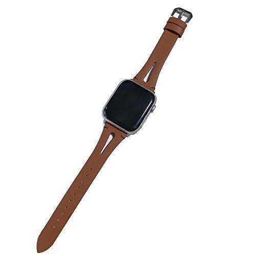 Xnhgfa Correa Compatible con Apple Watch 44 mm 42 mm 40 mm 38mm, Vintage Pulsera de Cuero Genuino Compatible iWatch Series 6 5 4 3 2 1 Mujeres Hombres,Marrón,42MM/44MM