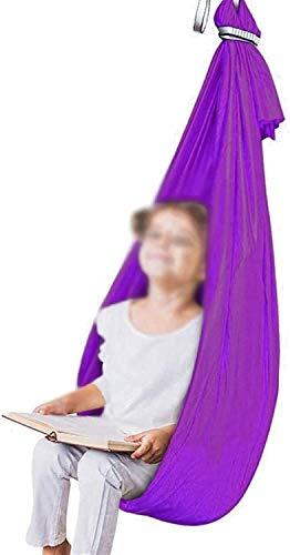 Kcanamgal Hamaca Oscilación Columpio De Terapia Tela Colgante Infantil De Jardin Exterior Interior para Niños con Necesidades Especiales con Autismo,Púrpura,100x280cm