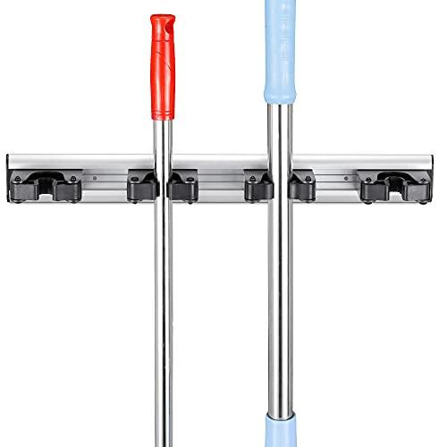 Navaris Rastrelliera Porta Scope da Muro - Portascope in Alluminio 43,5x5cm - 4x Ganci per Manico Scopa Raccogli Immondizia Mocio Spolverino Rastrello