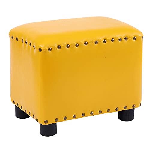 Taburete pequeño creativo para el hogar, elegante taburete cuadrado para sofá, patas de taburete de madera maciza pura, resistente y duradero, remaches periféricos fijos, almohadilla antideslizante