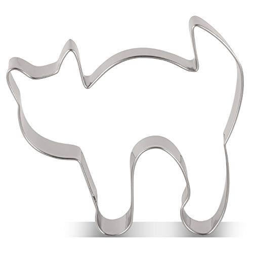 KENIAO Halloween Ausstecher Erschrockene Katze - 8,2 x 7,2 cm - Edelstahl