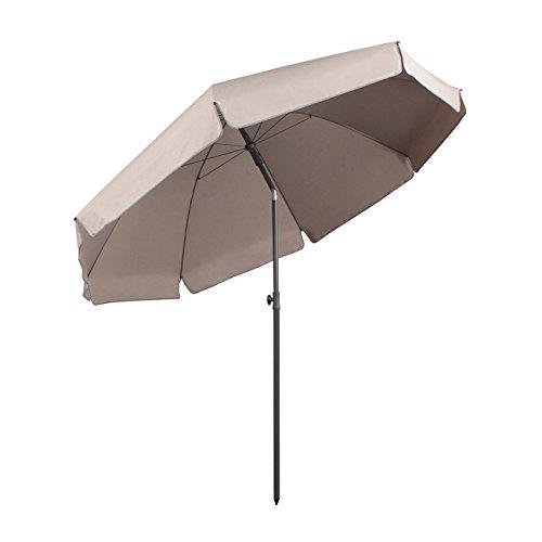 Sekey® Sonnenschirm 240 cm Marktschirm Gartenschirm Terrassenschirm Taupe Rund Sonnenschutz UV25+