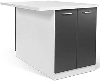 IDMarket - Ilot central IVO 120 cm blanc et gris avec plan de travail
