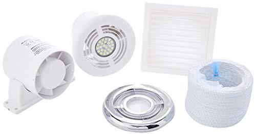 Blauberg UK KIT VKO microscooploep 100-2 100 mm ventilatieopeningen VKO badkamer douche fan kit met timer chroom, 16W, 240V