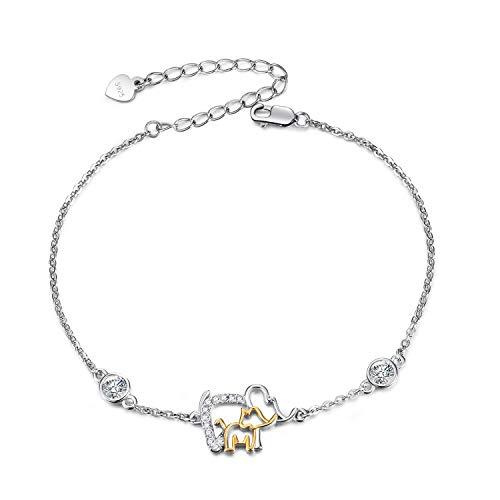 Fußkettchen Sterling Silber 925 Damen Elefant Fusskettchen mit Kristalle von Swarovski 28cm