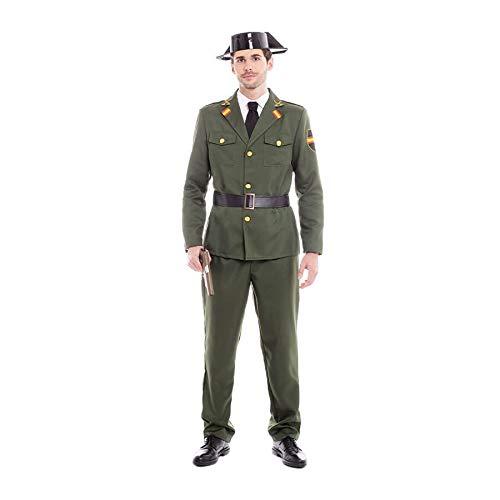 Disfraz Guardia Civil Hombre Traje Sombrero【Tallas Adultos de S a L】[Talla L] Disfraz Hombre Carnaval Profesiones Uniforme Policía con Gorro Desfiles Obras Teatro Actuaciones Regalo