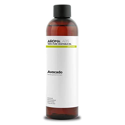 100% BIO - Huile végétale d'AVOCAT - 250mL - Garantie Pure, Naturelle, Issue de l'agriculture Biologique, Pressée à froid - Aroma Labs (Marque Française)