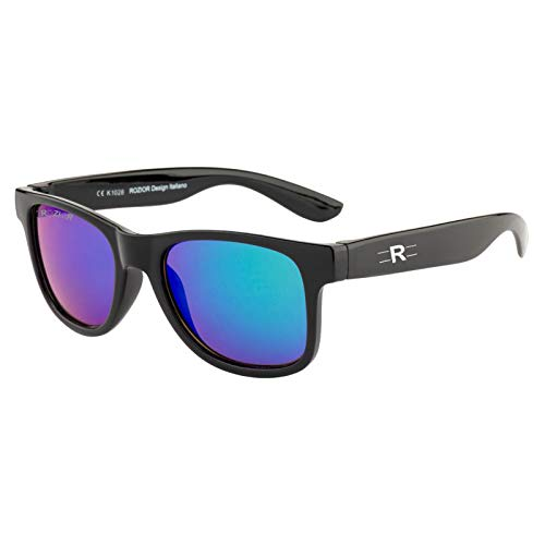 Rozior® Kids Sunglass with UV Protection Green Mirror Lens with Black Frame, MODEL: RWUK1028M1
