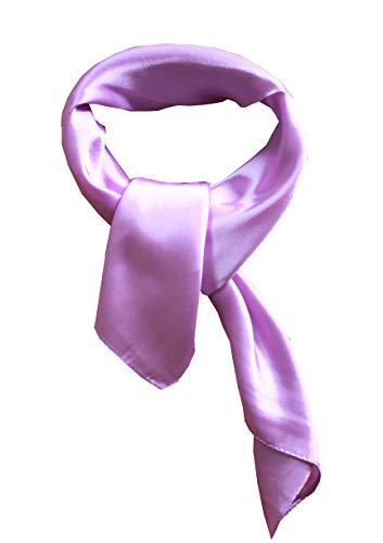 Silk square scarf pure color head scarf blend neckerchief (lavender)