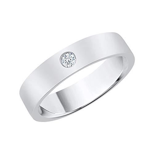 KATARINA Anillo de boda solitario para hombre en plata de ley (1/10 quilates, J-K, SI2-I1)