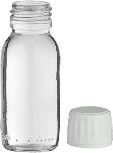 Lot de 5 Flacons - 60ml - Verre Transparent- PP 28 - Avec son bonchon capsule inviolable - Manelya