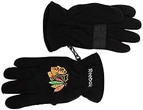 Reebok Chicago Blackhawks Black Winter Fleece Gloves L