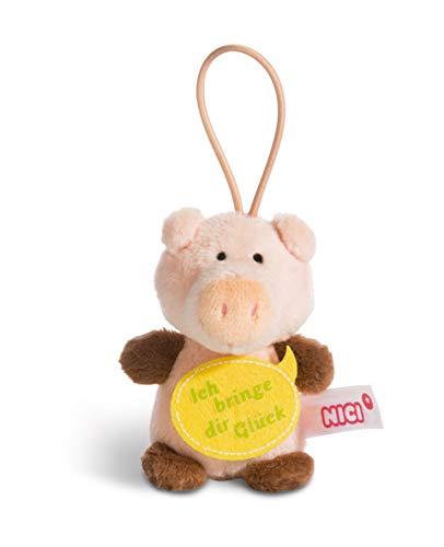NICI 44869 Anhänger Schwein mit Spruch Ich bringe dir Glück 8cm mit Loop, rosa/braun