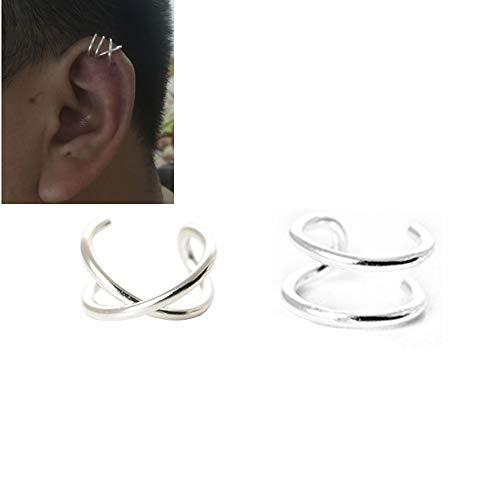 HOMEYU 925 Sterling Silver Sin Perforaciones Ear Cuffs Líneas Dobles Ear Cuff para el cartílago del oído Superior, Fake Conch Earring 1 Pair