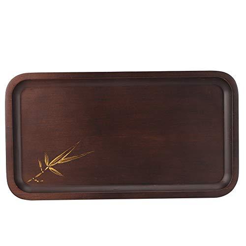 Bandeja de té, BuyWeek de bambú de alta calidad, duradero, rectangular, plato para servir, aperitivo, accesorio de cocina(Large)