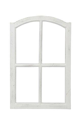 Posiwio Deko-Fensterrahmen Holz- Rahmen Fenster-Attrappe Holz Shabby weiß gewischt Vintage