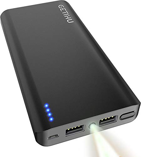 GETIHU Power Bank, 13000 mAh Portable Charger, 4.8A High-Speed 2 USB Ports Battery Pack External Battery with Flashlight, Compatible with iPhone Xs X 8 7 6S 6 Plus Samsung Note 9 S9 iPad Tablet Etc