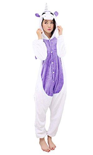 Einhorn Pyjamas Jumpsuit Kostüm Tier Schlafanzug Cosplay Karneval Fasching (Einhorn), Lila, Gr. L: für Höhe 168-177