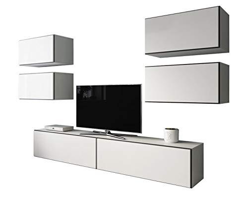Jadella Wohnwand \' Rico 2 \' Wohnkombination Hängeschrank Lowboard Cube, Farbe:Weiß - Schwarz/Weiß