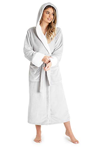 CityComfort Bata de Casa Para Mujer, Albornoz Mujer de Forro Polar, Regalos Mujer S-XL (M, Gris)