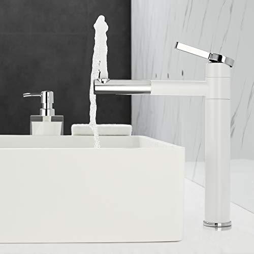 ubeegol 360° drehbar Wasserhahn Bad hoch Waschtischarmatur Weiß Mischbatterie Waschtisch Armatur Einhebelmischer für Bad, Messing Chrom