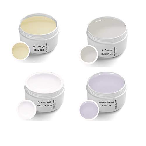 UV Gel Set Classic 4 x 30ml - Grundiergel, Aufbaugel, Frenchgel, Finishgel