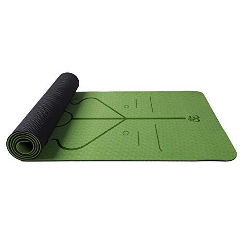 Yoga TPE Yoga Mat Grande,Colchoneta de Yoga, esterilla yoga antideslizante profesional 6mm, Antideslizante Material Medioambiental Tapete de Deporte Grande y Correas y Mochilas como Regalos 183x61cm