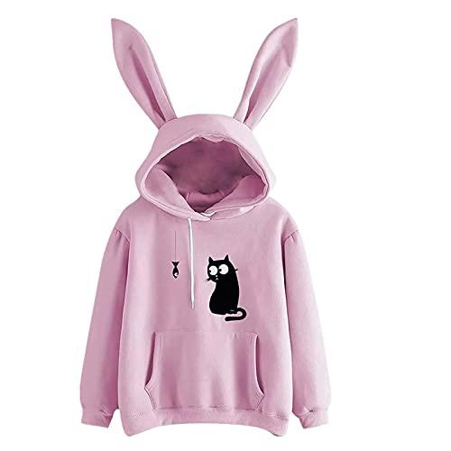 Bestyyo Sudadera con capucha de conejo de manga larga de color sólido para mujer Blusa Q91024, rosa, M