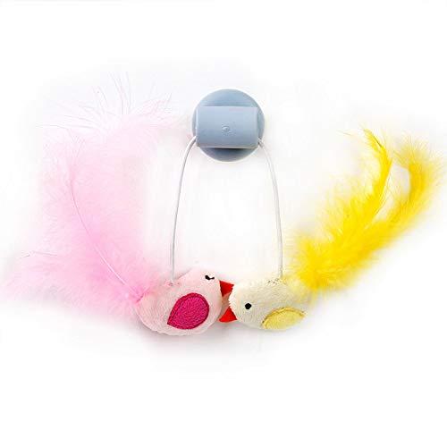 TOHHOT Lustige Vogelform Feder Catmint Bell Interaktives Spielzeug mit Sauger für Katzen Training Blauer Vogel Einheitsgröße