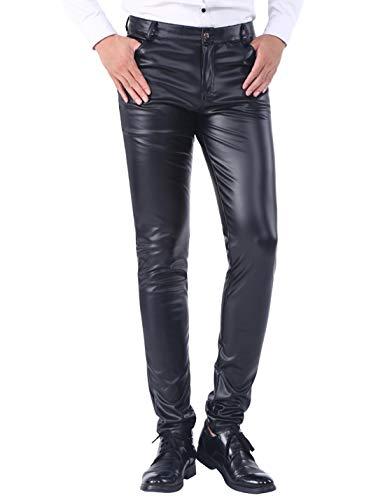 Yeokou Mens Business Casual High Waist Straight Leg PU Faux Leather Biker Pants(Black(Skinny Leg)-32)