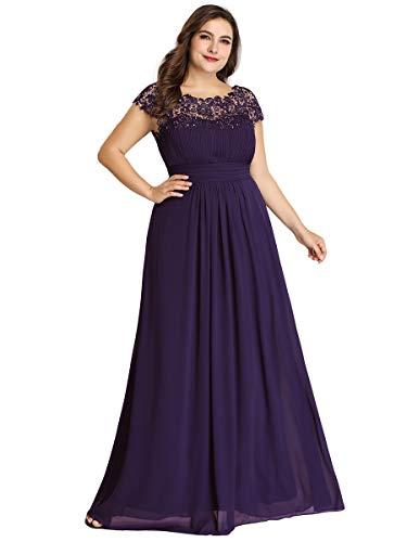 Ever-Pretty Abiti da Sera e Cerimonia Taglie Forti Donna Elegante Chiffon Stile Impero Vestiti da Damigella d'Onore Viola Scuro 58