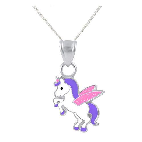 FIVE-D Set Kette Kinder Anhänger Einhorn Pferd Pegasus 925 Silber im Schmucketui