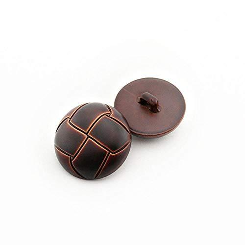 Nuevos botones de plástico con hebilla redonda de cuero de imitación de 10 piezas para accesorios de costura decorativos de ropa, marrón 2,28 mm