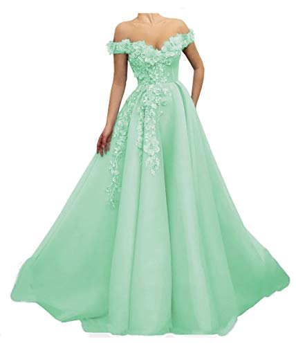 Mathena Women's Off The Shoulder Flowers Appliques Prom Gowns A-line Evening Dresses Mint Green US18 (Apparel)