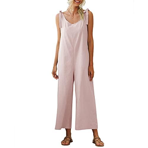 Petos de Pantalones para Mujer, Morbuy Monos Verano Casual Baggy Overoles Jumpsuit Tirantes Pantalones Embarazados con Bolsillos, para Playa Fiesta Oficina (Rosa,S)