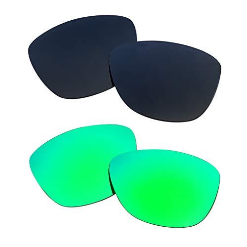SOODASE Para Oakley Jupiter Gafas de sol Negro/Verde 2 Pares Lentes de repuesto polarizadas