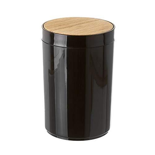 Papelera de baño de 5 litros Negra de bambú y Polipropileno de 18x27 cm - LOLAhome