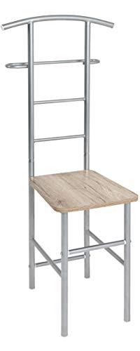Haku Möbel Herrendiener - aus alufarbenem Stahlrohr mit Sitzfläche H 109 cm