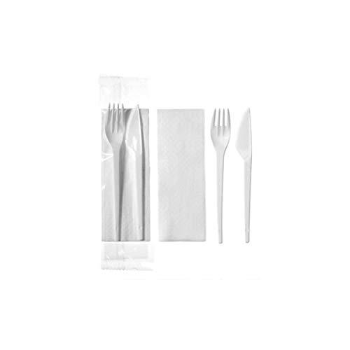 100 Sets de couverts - 23,5cm x 5cm / Fourchettes, Couteaux et Serviette