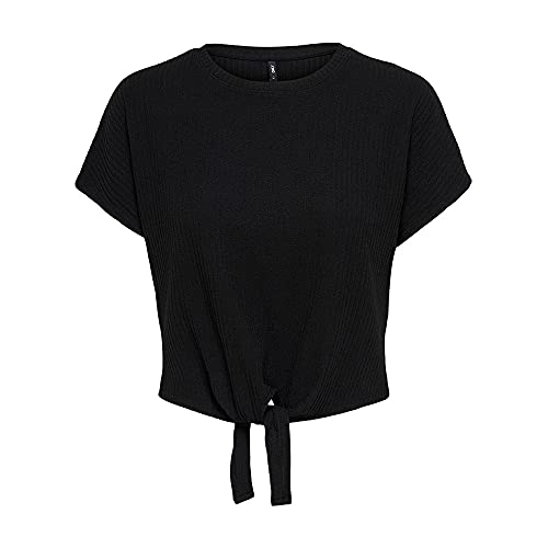 ONLY Damen ONLNELLA S/S Knot TOP CS JRS T-Shirt, Black, XL