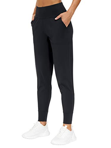 THE GYM PEOPLE Womens Joggers Pants with Pockets Athletic Leggings Tapered Lounge Pants for Workout, Yoga, Running, Training (Large, Black)