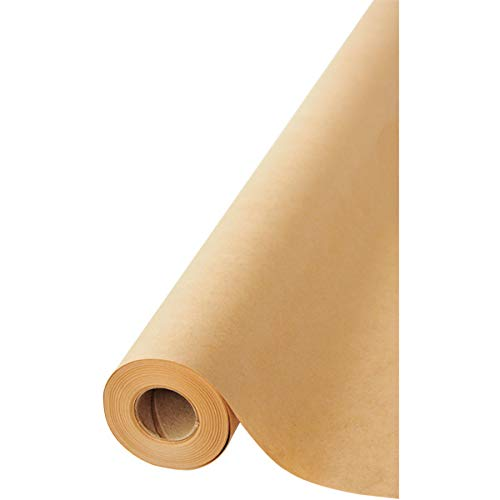 """Brown Kraft Paper Jumbo Roll 17.75"""" x 1200"""" (100ft) Made in USA- Ideal for Gift Wrapping, Packing Paper for Moving, Art Craft, Shipping, Floor Covering, Wall Art, Table Runner, 100% Recycled Material"""